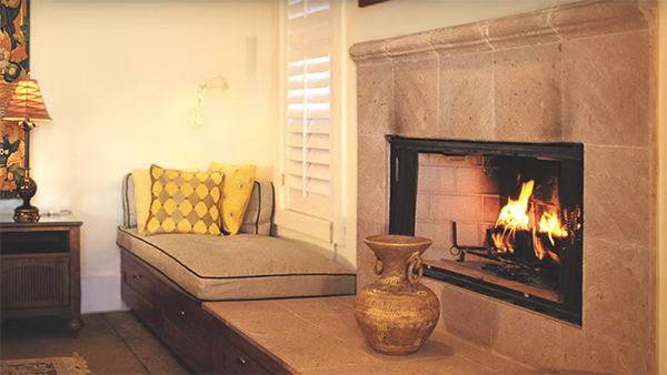 Fireplace in the Cabana.