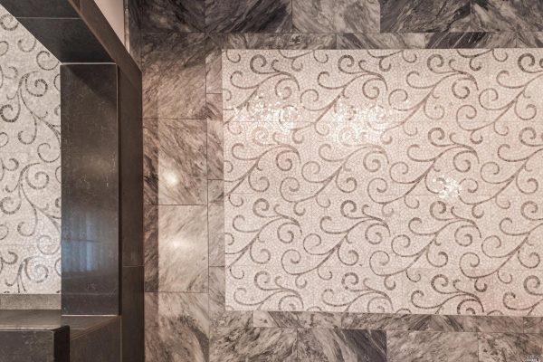 Tile work on floor.