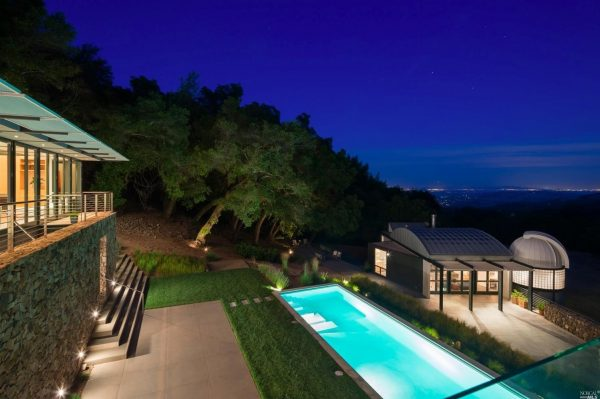 View of the backyard at night.