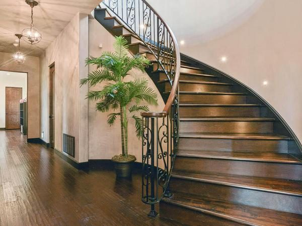 Curved staircase.