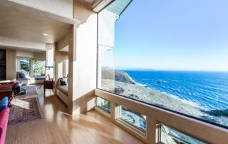 View of the ocean from inside the house.