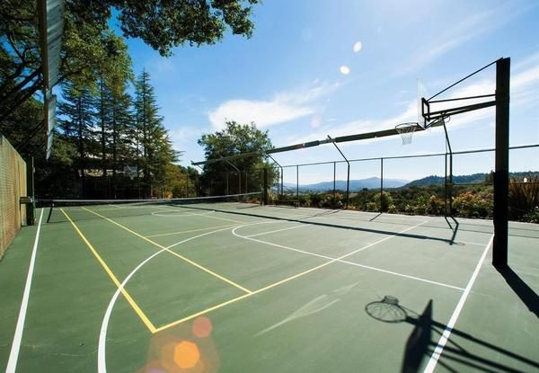 Basketball/tennis court.
