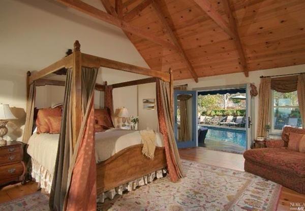 Master bedroom overlooking the pool.