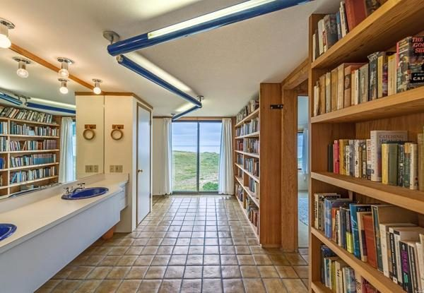 Bathroom bookshelves.